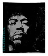 Jimi Hendrix - Retro Black  Fleece Blanket