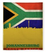 Johannesburg South Africa World City Flag Skyline Fleece Blanket