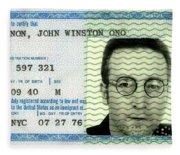 John Lennon Immigration Green Card 1976 Fleece Blanket