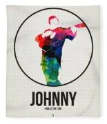 Johnny Cash Watercolor Fleece Blanket