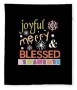 Joyful Merry Blessed Christmas Snowflakes Fleece Blanket