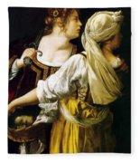 Judith And Her Maidservant 1613 Fleece Blanket