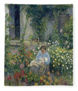 Julie And Ludovic-rodolphe Pissarro Among The Flowers, 1879 Fleece Blanket