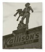 Kallison Cowboy Still Stands In San Antonio Fleece Blanket