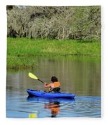 Kayaker In The Wild Fleece Blanket