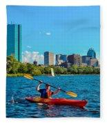 Kayaking On The Charles Fleece Blanket