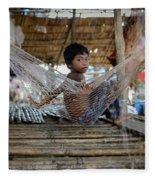 Keeping Cool In Cambodia Fleece Blanket