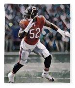 Khalil Mack Chicago Bears Abstract Art 1 Fleece Blanket
