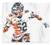 Khalil Mack Chicago Bears Pixel Art 30 Fleece Blanket
