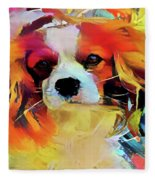 King Charles Spaniel On The Move Fleece Blanket