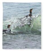 King Penguins Swimming In The Waves Fleece Blanket by Alan M Hunt
