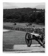 King William Artillery Marker In Black And White Gettysburg Fleece Blanket