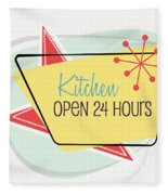 Kitchen Open 24 Hours- Art By Linda Woods Fleece Blanket