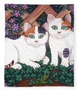 Kittens And Clover Fleece Blanket