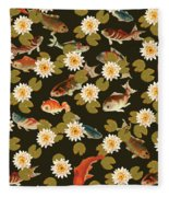 Koi And Lily Pads In Dark Water Fleece Blanket