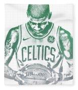 Kyrie Irving Boston Celtics Water Color Pixel Art 30 Fleece Blanket