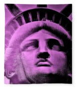 Lady Liberty In Pink Fleece Blanket
