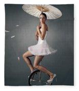 Lady On A Unicycle Fleece Blanket