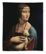 Lady With An Ermine, 1489 Fleece Blanket