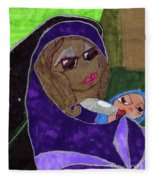 Lady With Child Fleece Blanket