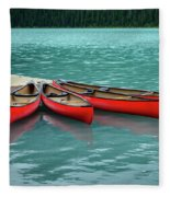 Lake Louise Canoes Fleece Blanket