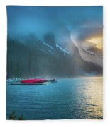 Lake Louise Canoes In The Morning Fleece Blanket