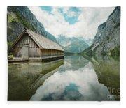 Lake Obersee Boat House Fleece Blanket