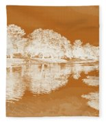 Lake Reflections In Brown Fleece Blanket