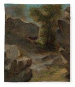 Landscape With Rocks  Augerville  Fleece Blanket