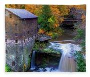 Lanterman's Mill In Fall Fleece Blanket