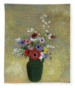Large Green Vase With Mixed Flowers, 1912 Fleece Blanket