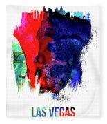 Las Vegas Skyline Brush Stroke Watercolor   Fleece Blanket