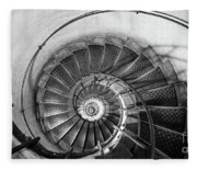 Lblack And White View Of Spiral Stairs Inside The Arch De Triump Fleece Blanket