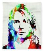 Legendary Kurt Cobain Watercolor Fleece Blanket