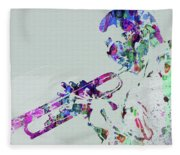 Legendary Miles Davis Watercolor Fleece Blanket