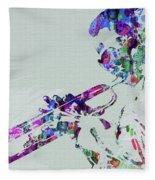 Legendary Miles Davis Watercolor Fleece Blanket