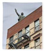 Lenin Statue In East Village N Y C Fleece Blanket
