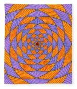 Light Violet On Blue, Yellow On Red Fractal Pattern Fleece Blanket