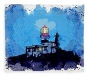 Lighthouse, Watercolor, C2019, By Adam Asar - 19 Fleece Blanket