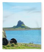 Lindisfarne Castle And Bay Fleece Blanket