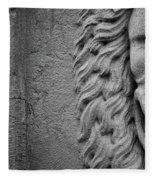 Lion Statue Portrait Fleece Blanket by Nathan Bush