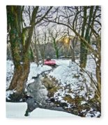 Little Red Walk Bridge Fleece Blanket