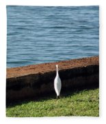 Little White Egret Egretta Garzetta Fleece Blanket