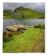 Llyn Y Dywarchen Boats Snowdonia Fleece Blanket