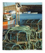 lobster pots and trawlers at Dunbar harbour Fleece Blanket