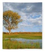 Lone Tree By A Wetland Fleece Blanket