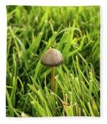 Lonely Little Mushroom Floating On The Grass Fleece Blanket