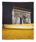 Long Exposure Picture Of Paris Arch De Triomphe At Night   Fleece Blanket