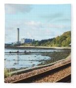 Longgannet Power Station And Railway Fleece Blanket