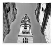 Looking Up - City Hall Court Yard In Black And White Fleece Blanket